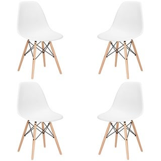 Poly and Bark Vortex Dining Chair with Natural Legs (Set of 4)