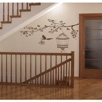 The branch and the bird cage Wall Art Sticker Decal Brown