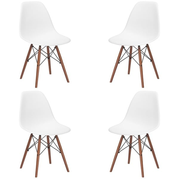 Kitchen Chairs White: X-frame Wire And Walnut Matte Dining Chairs (Set Of 4
