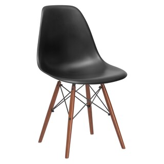 Poly and Bark Vortex Dining Chair with Walnut Legs (Set of 4) (Option: Black)