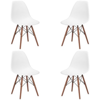 Poly and Bark Vortex Dining Chair with Walnut Legs (Set of 4) (Option: White)