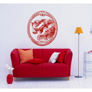 Horse in the frame Wall Art Sticker Decal Red