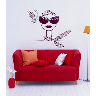 Butterfly girl with glasses Wall Art Sticker Decal Red