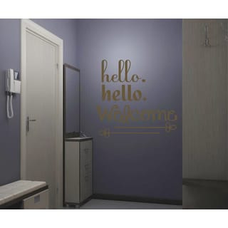 Hello Welcome Wall Art Sticker Decal Brown