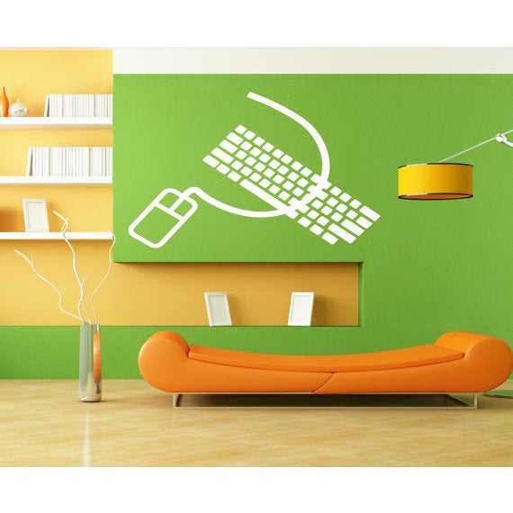 Shop Computer mouse and keyboard Wall Art Sticker Decal White - Free ...
