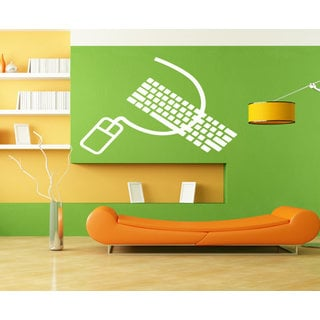 Computer mouse and keyboard Wall Art Sticker Decal White