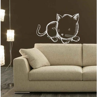 Cute kitten Wall Art Sticker Decal White
