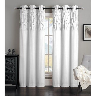"""OVERSTOCK EXCLUSIVE Avondale Manor Ella Curtain Panel Pair 96"""" in White (As Is Item)"""