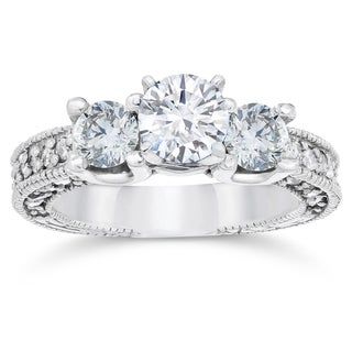 14K White Gold 2ct TDW Vintage Diamond Engagement 3-Stone Ring