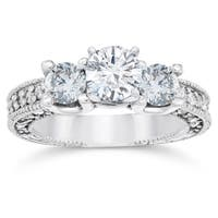 14K White Gold 2ct TDW Vintage Diamond Engagement 3-Stone Ring