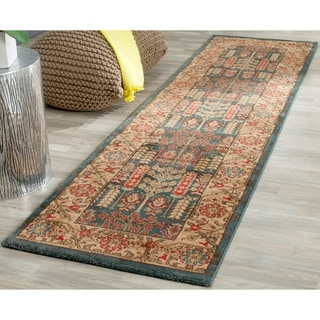 Safavieh Mahal Traditional Grandeur Navy/ Natural Rug (2' 2 x 14')
