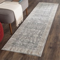Safavieh Valencia Dark Grey/ Light Grey Distressed Silky Polyester Runner Rug - 2'3 x 12'
