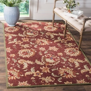 Safavieh Hand-hooked Easy to Care Maroon/ Green Rug (2' x 3')