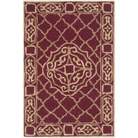 Safavieh Hand-hooked Easy to Care Maroon/ Gold Rug - 2' x 3'
