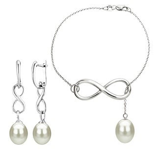 DaVonna Sterling Silver White Cultured Pearl Infinity Bracelet and Dangle Stud Earring Jewelry Set