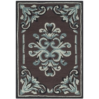 Safavieh Hand-hooked Easy to Care Chocolate/ Multi Rug (2' x 3')