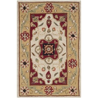Safavieh Hand-hooked Easy to Care Cream/ Red Rug (2' x 3')