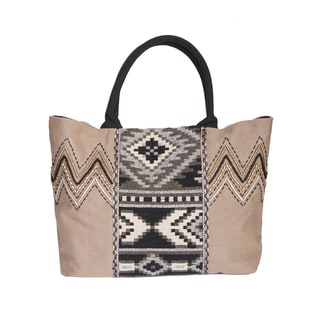 Scully Double Handle Taupe Cotton Canvas Printed Tote Bag