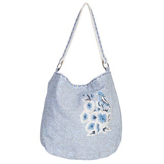 Scully Blue/Grey Cotton Floral-Print Tote Bag