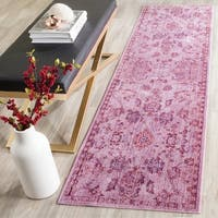 Safavieh Valencia Pink/ Multi Overdyed Distressed Silky Polyester Rug - 2' 3 x 8'