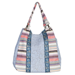 Scully Blue Cotton/ Polyester Striped Tote Bag with Double Removable Serape Stripe straps