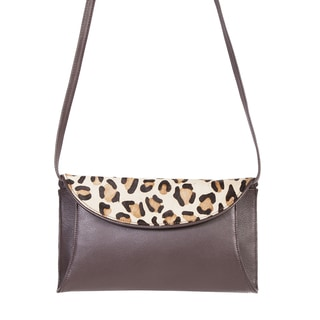 Scully Brown Leather Pebbled Leopard Flap Handbag with Adjustable Shoulder Strap