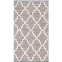 "Safavieh Montauk Hand-Woven Flatweave Taupe Grey/ Ivory Cotton Rug - 2'6"" x 4'"