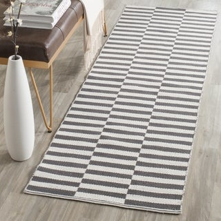 Safavieh Hand-Woven Montauk Ivory/ Grey Cotton Rug (2' 3 x 9')