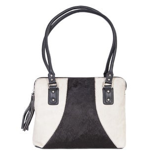Scully Leather White and Black Shoulder Handbag