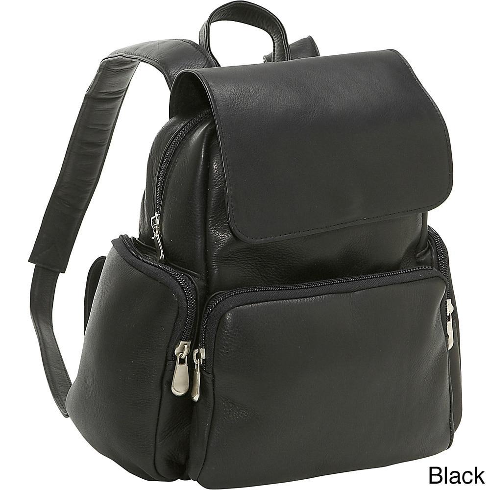 Ledonne Leather Womens Multi Pocket Backpack (Black)
