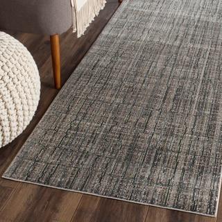 Safavieh Valencia Grey/ Multi Distressed Silky Polyester Rug (2' 3 x 12')