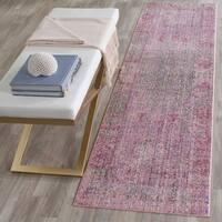 Safavieh Valencia Lavender/ Multi Overdyed Distressed Silky Polyester Rug - 2' 3 x 8'