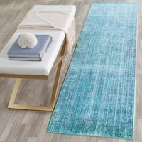 Safavieh Valencia Turquoise/ Multi Overdyed Distressed Silky Polyester Rug - 2' 3 x 8'