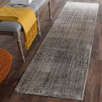 Safavieh Valencia Grey/ Multi Abstract Distressed Silky Polyester Rug - 2' 3 x 12'
