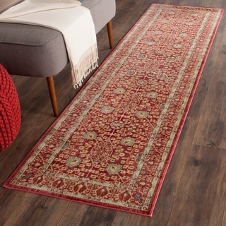 Safavieh Valencia Red Distressed Silky Polyester Rug (2' 3 x 12')