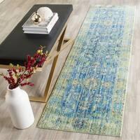 Safavieh Valencia Blue/ Multi Distressed Silky Polyester Rug (2' 3 x 12')