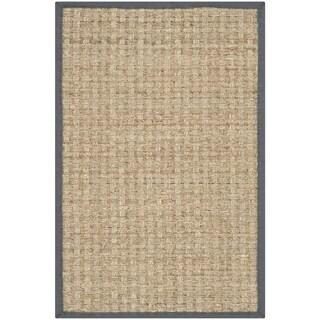 Safavieh Casual Natural Fiber Hand-Woven Natural / Dark Grey Seagrass Rug (2'6 x 4')