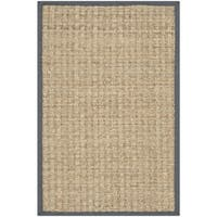 Safavieh Casual Natural Fiber Hand-Woven Natural / Dark Grey Seagrass Rug (2'6 x 4')