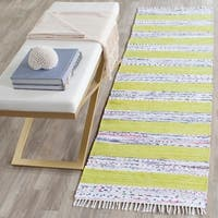Safavieh Hand-Woven Montauk Ivory/ Light Green Cotton Rug - 2' 3 x 7'