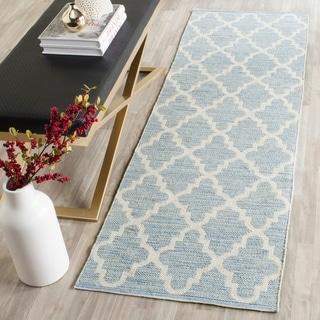 Safavieh Hand-Woven Montauk Light Blue/ Ivory Cotton Rug (2' 3 x 9')