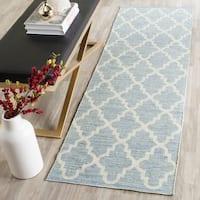 Safavieh Hand-Woven Montauk Light Blue/ Ivory Cotton Rug - 2'3 x 9'