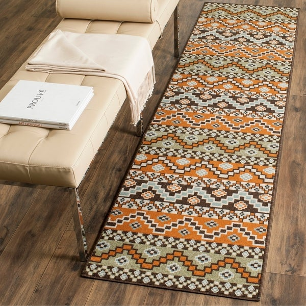 Safavieh Veranda Terracotta/ Chocolate Rug - 2' 3 x 8'