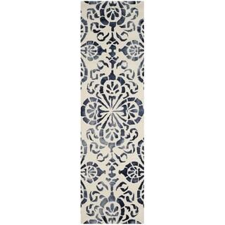 Safavieh Handmade Dip Dye Watercolor Vintage Ivory/ Navy Wool Rug (2' 3 x 6')