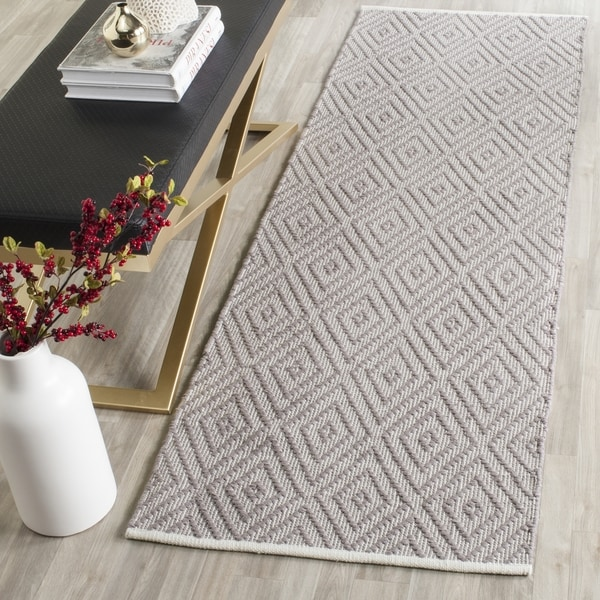 Safavieh Hand-Woven Montauk Grey/ Ivory Cotton Rug (2' 3 x 11')