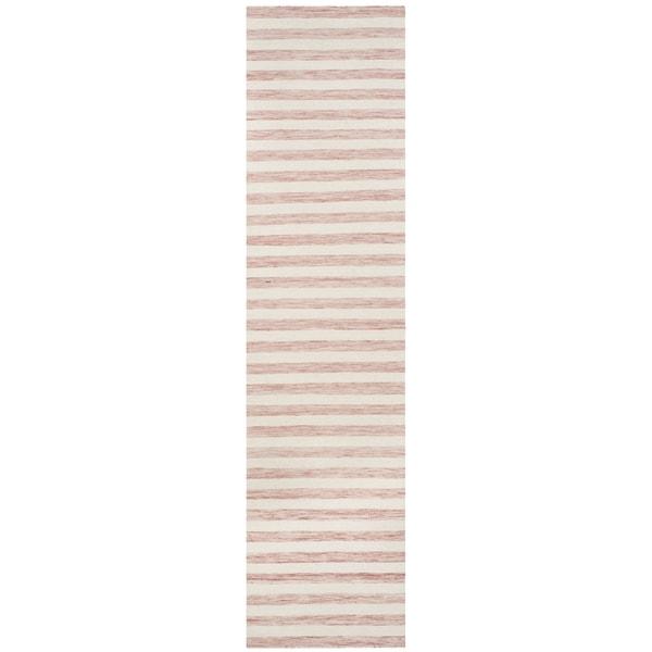 Safavieh Hand-woven Dhurries Rust/ Ivory Wool Rug - 2' 6 x 10'