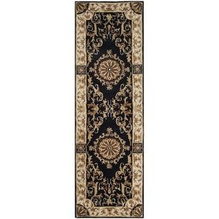 Safavieh Handmade Empire Dani Traditional Oriental Wool Rug (26 x 10 Runner - Black/Ivory)