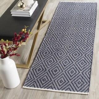 safavieh handwoven montauk navy ivory cotton rug 2u0027 3 x 13