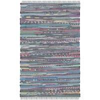 Safavieh Hand-Woven Rag Rug Aqua/ Multi Cotton Rug - 2'6 x 4'
