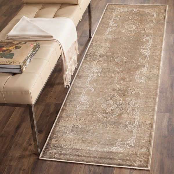 Safavieh Vintage Oriental Mouse Brown Distressed Silky Viscose Rug - 2' 2 x 8'