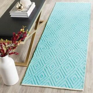 Safavieh Hand-Woven Montauk Turquoise/ Ivory Cotton Rug (2' 3 x 9')